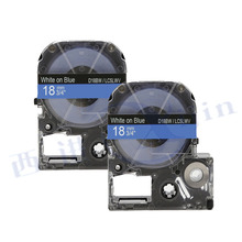 XIJIN 2x Compatible for SD18BW 18mm White on Blue Used for KingJim Printer Label Cassete Tapes
