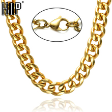 HIP Hop 24 INCH 12MM CUT IP Gold Filled Lobster Buckle Titanium Stainless Steel Curb Cuban Link Chain Necklaces for Men Jewelry(China)