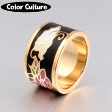Stainless Steel Rings for Women Fashion Pretty Charm Big Enamel Rings 1.3cm Ethnic Vintage Style(China)