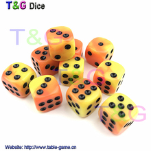 Acrylic Yellow Dice Set 10PCS 12*12*12mm Small Plastic Cubes Novelty brinquedo for Board Game