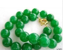 "free shipping ~$wholesale_jewelry_wig$ Beautiful Natural 8mm Green  Round Beads Necklace 18"" AAA"