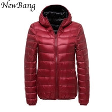 4XL Coats Women Hooded Ultra Light Down Jacket With Carry Bag Travel Double Side Reversible Jackets Plus Size