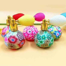 Pumpkin Shape Portable Gasbag Perfume Bottle Color Flower Clay Glass Perfume Atomizer Fragrance Bottle 10pcs/lot