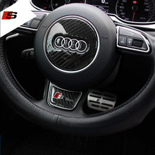 Sline S line Steering Wheel Sticker 3D Carbon Fiber Emblem 3D Car Stickers Car Styling For Audi A1 A3 A4 A5 A6 A7 A8 Q3 Q5 Q7 S7