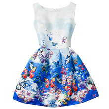 Summer Girls Dress Little Lady Dress Party Vestido Teenagers Butterfly Print Princess Dress for Girls Baby Girl Clothes Cheap 12(China)
