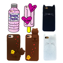 For Iphone 7 6s 6 Plus 5S SE Case Cute 3D Water Bottle Ice Cream Brown Bear Bearded Cat Soft Silicon Rubber Phone Case Cover New(China)