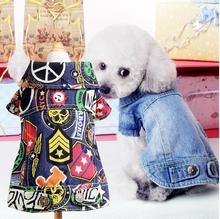 Spring Autumn Jeans Small Dog Clothes Denim Dog Jeans Coat Cowboy Pet Puppy Dog Jacket small dog clothes XXS XS S M L(China)