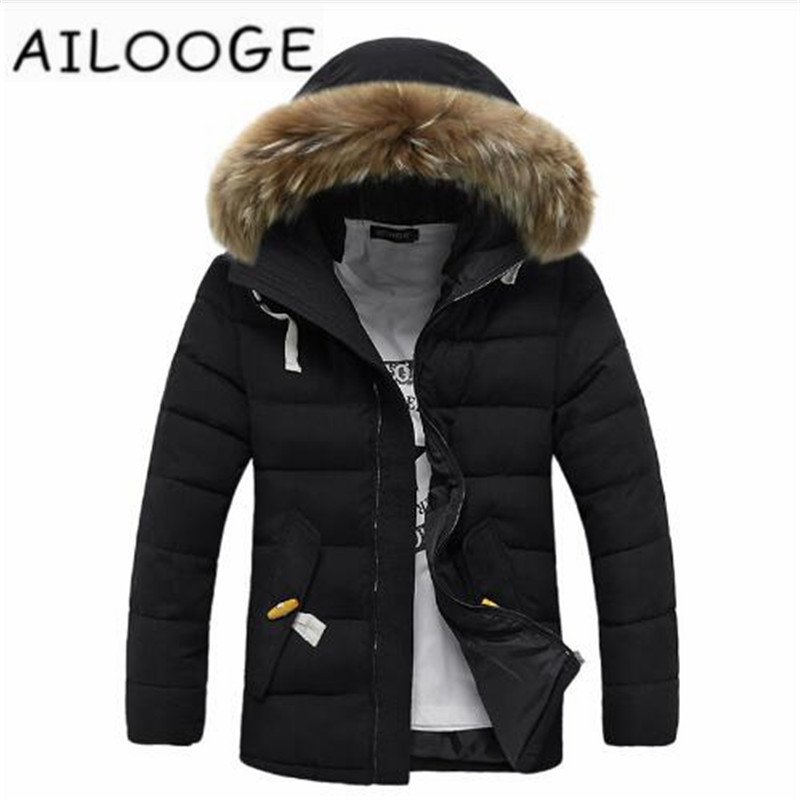 Winter men's warm down coats male wadded jacket Big fur collar warm outerwear free shipping