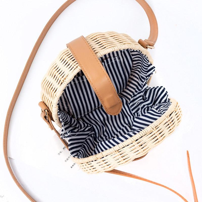 Women Straw Bag Bohemian Bali Rattan Beach Handbag Small Circle Lady Vintage Crossbody Handmade Kintted Shoulder Bags SS0371 (4)
