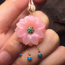 gems size 22.8*23.2mm gold 1.75g 18k rose gold natural Australia pink opal pendant necklace for women fine jewelry(China)
