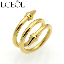 LCEOL New Top Quality 3 Rows Layered Rings Titanium Steel Conical Arrows Women Ring Fashion Brand Love Jewelry Cone Nail Rings(China)