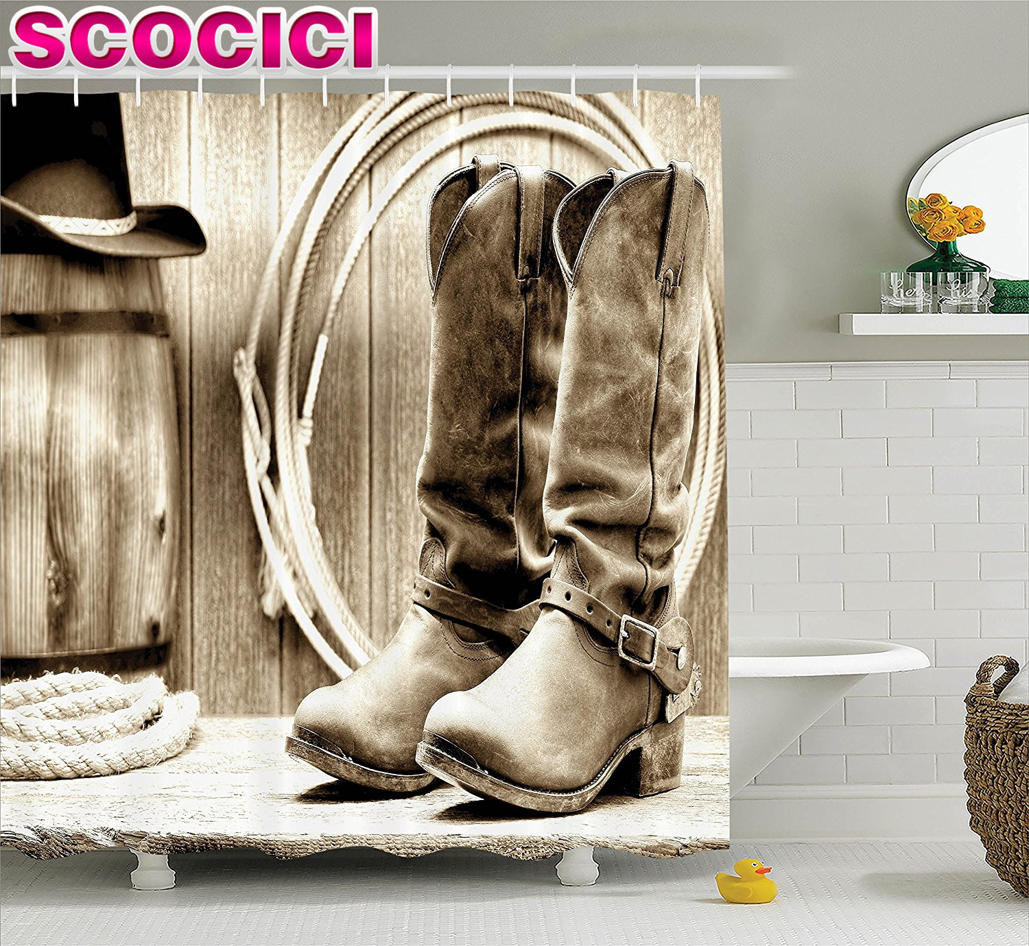Cowboy boot bathroom decor - Cowboy Boot Bathroom Decor Western Decor Shower Curtain Set Traditional Rodeo Supplies With Roper Boots