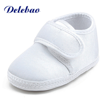 Pure White The Baptism Of Shoes Holy Angles Soft Sole Cotton Baby Shoes For 0-15 Months Newborn Christening Shoes(China)