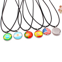 2018 World Cup National Flag Necklaces Pendants Football Sports Leather Necklace Men Women Fashion Jewelry Dropshipping(China)