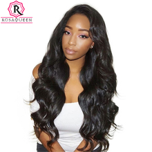 180% Density Full Lace Human Hair Wigs For Black Women Brazilian Body Wave Wig Pre Plucked Front With Baby Hair Rosa Queen Remy(China)