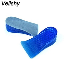 Velishy 1Pair Unisex Comfortable Silicone Gel Lift Height Increase Shoe Insoles Heel Insert Pad Women Men Cushion Protector(China)