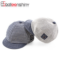 Newborn Summer Cotton Comfortable Infant Hats Cute Casual Striped Soft Eaves Baseball Cap Baby Boy Beret Baby Girls Sun Hat