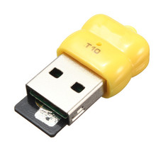 Hot Wholesale Yellow 480 Mbps Mini Single  USB 2.0 Micro SD TF  Memory Card Reader Adapter T10 For Linux For Windows 7 8