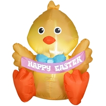 New Airblown Outdoor Inflatable Easter Chick W Happy Easter Banner For Holiday Decoration 8ft free shipping