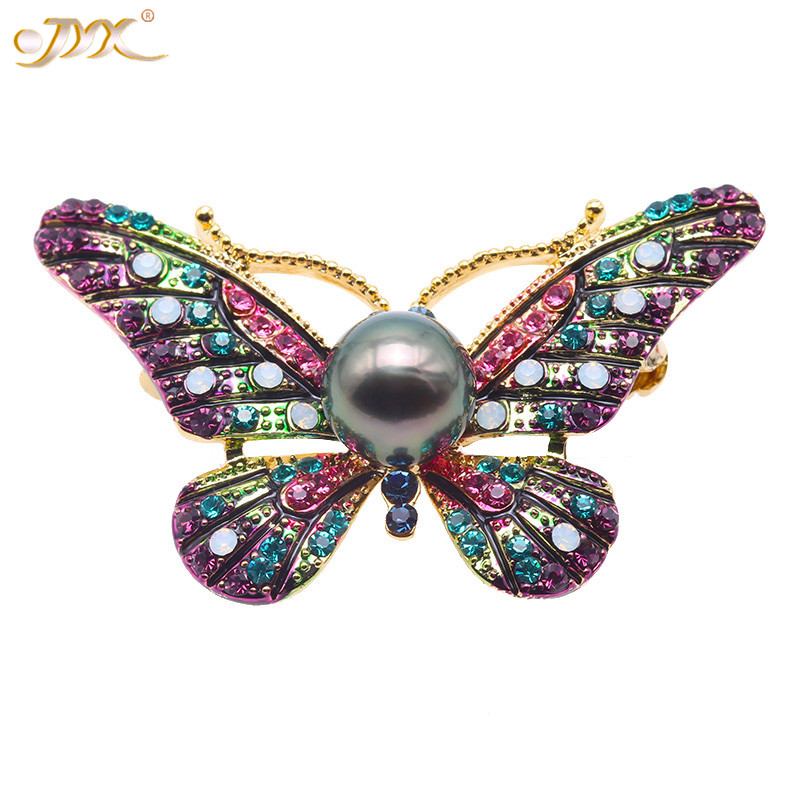 JYX Luxurious Pearl Brooch 9mm natural Peacock Green Tahitian Cultured Pearl Brooch Pendant for women (pink,blue)gift for mother