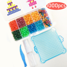 Water Aqua Beads Set Toys Sticky Hame Perler Beads Pegboard Set Fuse Beads Jigsaw Puzzle Water Beadbond Educational Toys Diy Kid(China)