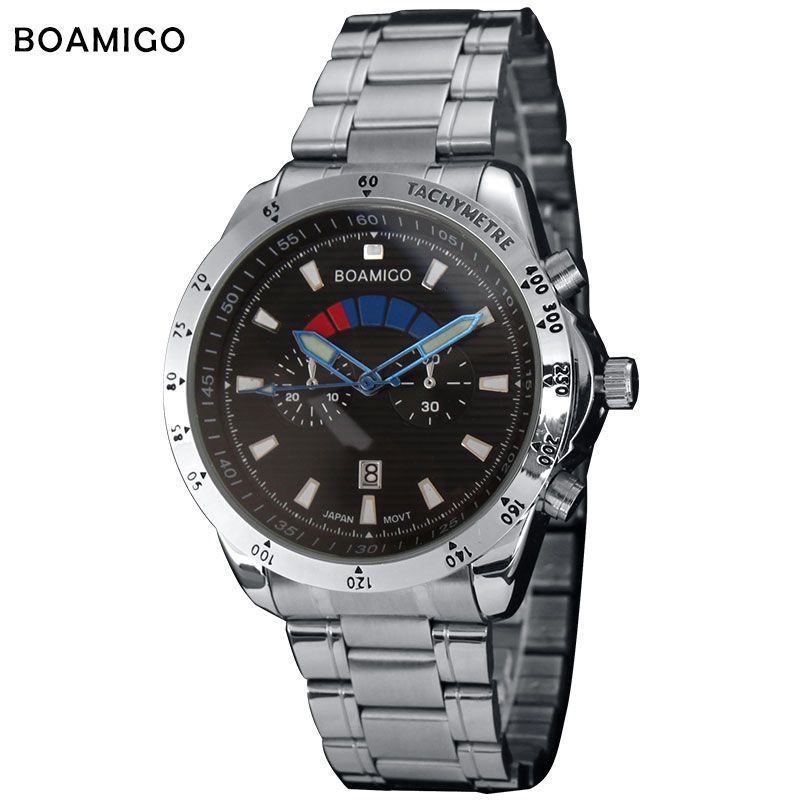 2016 BOAIMGO mens quartz  sports fashion casual watches full steel band  clock  military wristwatches date  relogio masculino<br><br>Aliexpress