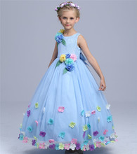 2016 New Childrens Dress High-grade Brand Baby Girl Party Dress Flowers Girl Wedding Dresses European Kids Clothes  5-12Y