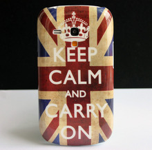 Keep Calm and Carry On Design Hard Back Protective Skin Cover Case For Samsung Galaxy S3 S III Mini i8190 Coque Funda Capa