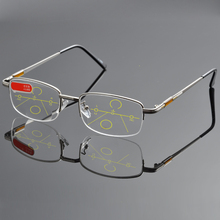 NO LINE Bifocal Progressive multifocal Reading Glasses High Quality Titanium Alloy Half-Rim Gray Frame Sph 0 Add 1 To Add 4(China)