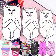 For iPhone 4s/ 5 5s/ SE/ 6 6s 7 8/ 6 Plus 6s Plus 7 Plus 8Plus Pocket Cat Unicorn Silicone Rubber Cell Phone Cases Covers(China)