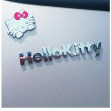 Pure Metal 3D Cartoon Hello Kitty Car Sticker Kit Cat Cover Scratch To Women Girls Car Whole Body Sticker Styling(China)