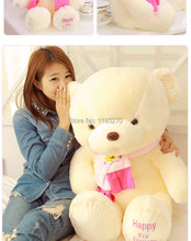 100 cm pink or blue scarf  bear plush toy teddy bear doll gift w4098