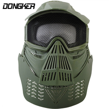 Airsoft Tactical Full Face Guard Mask with Mesh Goggles-BK Neck Protect Military Outdoor Game Hunting Training Mask 2 Color(China)