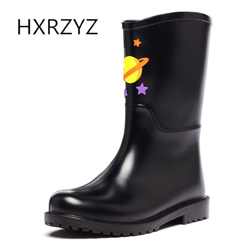 HXRZYZ female rubber rain boots black ankle boots spring/autumn new fashion cute cartoon Slip-Resistant waterproof shoes women<br>