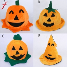 Unisex Brand New 20cm*18cm Pumpkin hat Cos Halloween Pumpkin Motifs Lint Top 4 Style Novelty Hats Orange Hats
