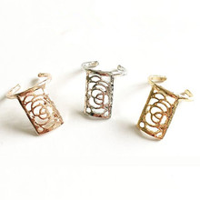 R170 2017 Korean Stylish Plum Rose Pentacle Nail Rings Jewelry Fine Wholesale Factory Direct Gold Party Wedding For Women(China)