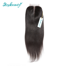 Rosabeauty Remy Hair Lace Closure Middle Part Brazilian Straight,Bleached Knots with Natural Baby Hair