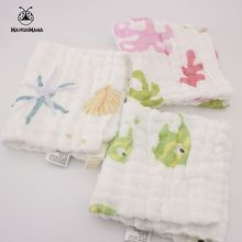 3pcs a set 6 layers muslin cotton baby towel handkerchief coral starfish colorful fish wipe cloth soft baby face towel(China)