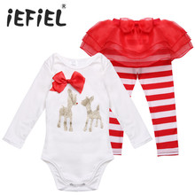 New Deer Christmas Infant Toddler Kids Children Newborn Baby Girls Tops Romper Pants Legging Outfits Baby Clothes(China)