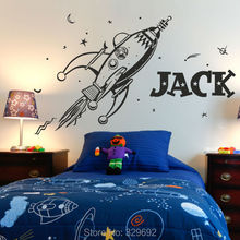 Free Shipping New style ROCKET wall sticker space boys bedroom stickers art vinyl Personalise kids name stars decal tx-282