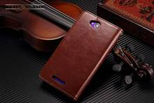 TUKE Vintage PU Leather Case for SONY Xperia C S39H C2305 Luxury Wallet with Flip Stand Style Phone Bag Cover Black Brown
