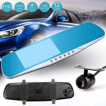 F8C 4.3 Inch 1080P HD 170 Degree Parking Rear View Rearview Mirror TFT Dual Lens Car DVR Dash Camera Video Recorder