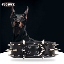 VUGSUCE Big Rivet Dog Collar Spiked for Big Large Dogs Pit Bull PU Leather Punk Style Dog Necklace Pet Dog Collars Chain 4 Color