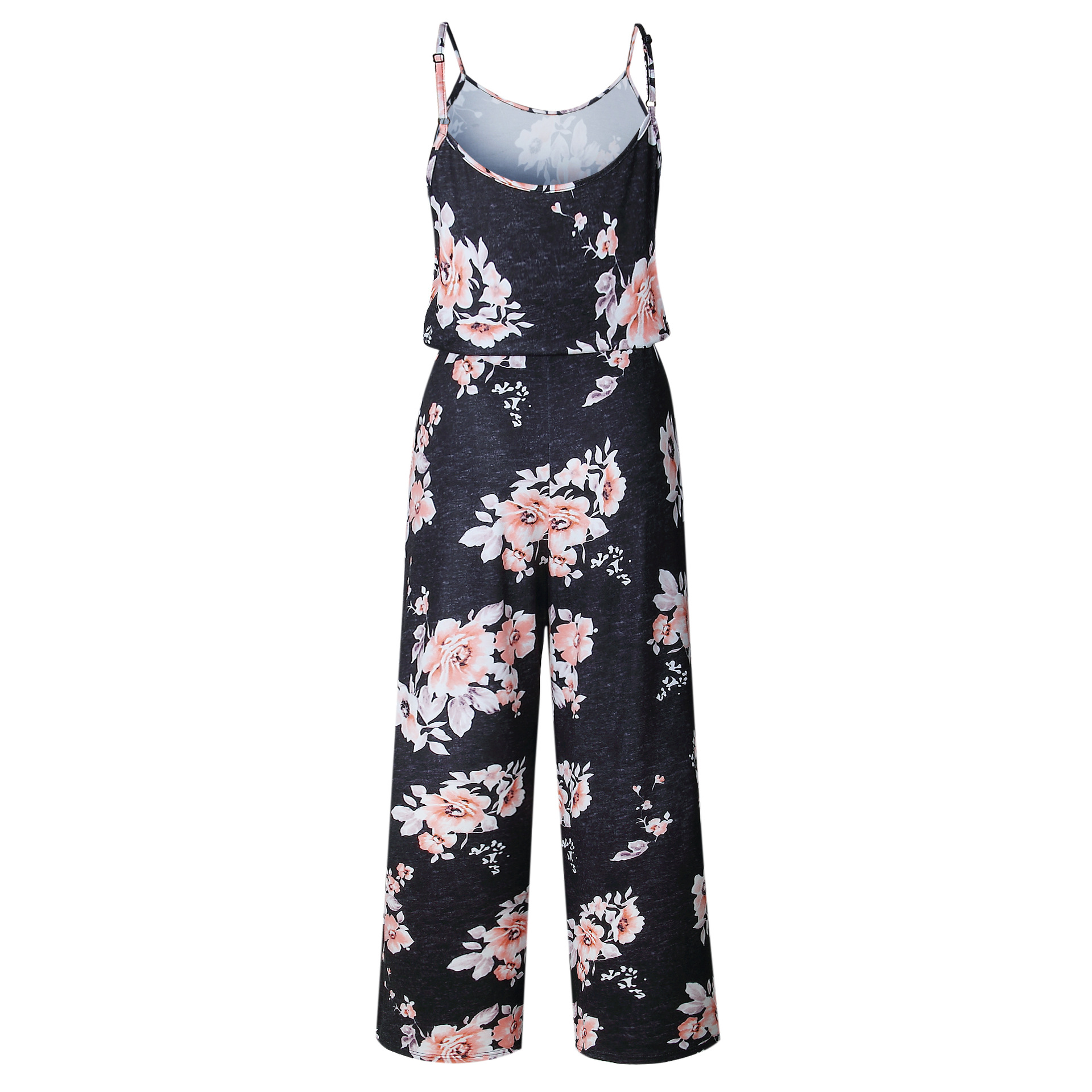 Spaghetti Strap Jumpsuit Women 2018 Summer Long Pants Floral Print Rompers Beach Casual Jumpsuits Sleeveless Sashes Playsuits 45