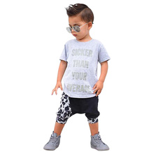 Children Clothing 2016 Summer Boys Clothes Sets Baby T-shirt Tops + Harem Pants Leopard Boys Suits Kids Boy Clothes New Arrival