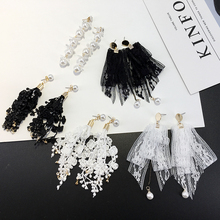 Black White Long Lace Earrings Women Pearl Dangel Earrings Night Club Personality Jewelry Accessories  N5007