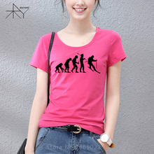 2017 New Evolutionss of Skiinges T Shirt Women Funny Cool Summer T Shirt Woman Cotton Short-Sleeve T-shirt(China)