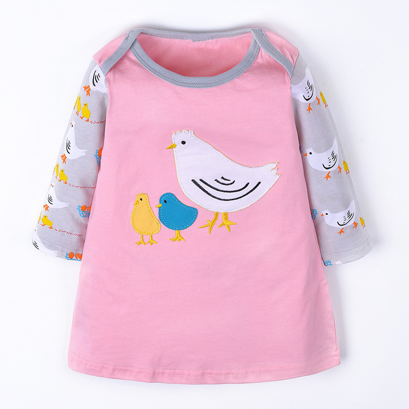 Cute Girls Dress 2017 New Fashion Children clothes bird animals Long Sleeve Cartoon baby girl Cotton Party Dresses kids  -  jumping meters child Store store