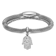Silver Stretch Cable Mesh Bracelet Magnetic Clasp with hand of Fatima Hamsa Charms Bangle Italian Style 316L Stainless Steel