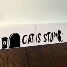 Cat is Stupid Funny 3d Mouse Holes wall sticker Decal wall decor Children room Decor Vinyl Sticker
